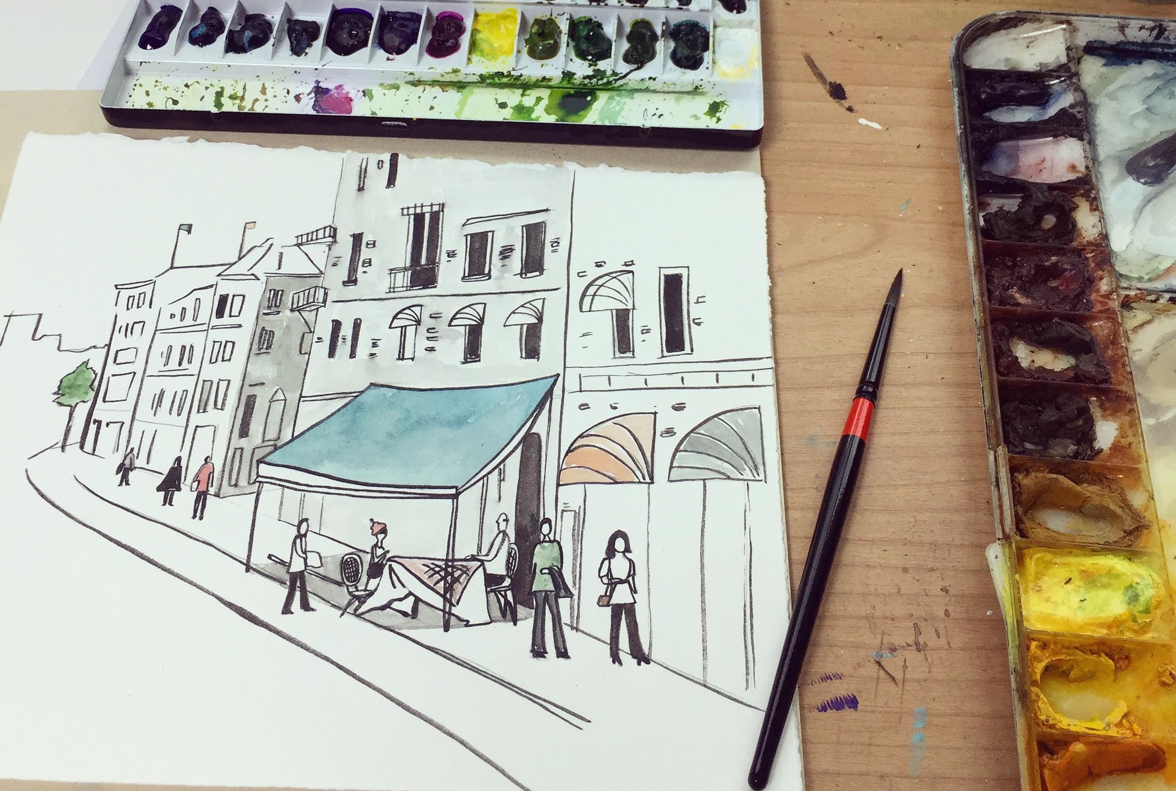 일상 카페 그리기_ daily cafe street illustration