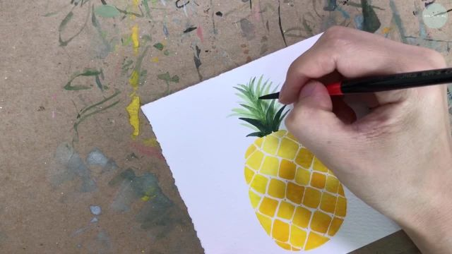 Pineapple watercolor illustration drawing _파인애플 일러스트 그리기